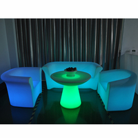 Complete Set of Modern Plastic Furniture/Sofa With LED & Indoor/Outdoor LED Decoration