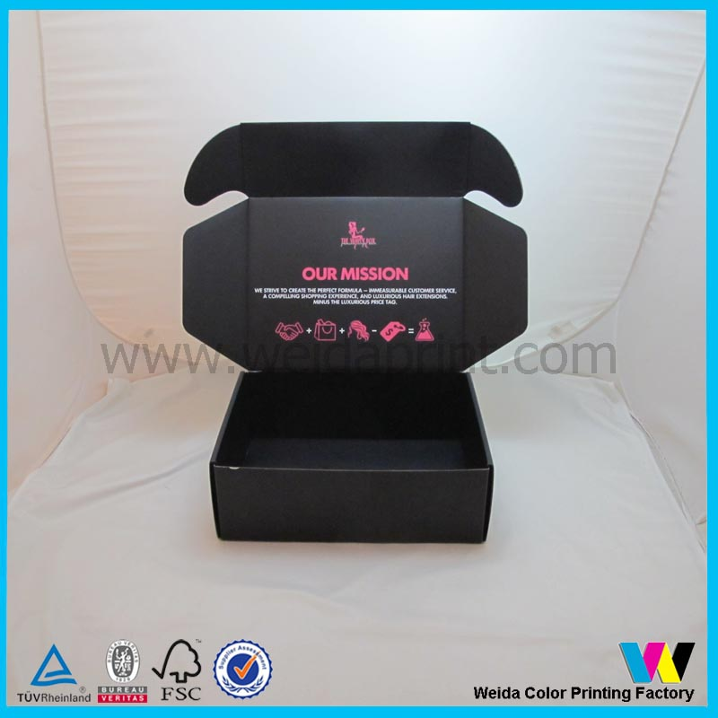 Hair products packaging black shipping mailing box