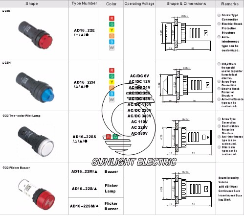 IP65 ad16-22ds green LED singal light indicator lamp