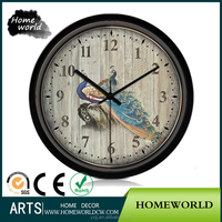 Modern design beautiful peacock painting kitchen wall mounted clock