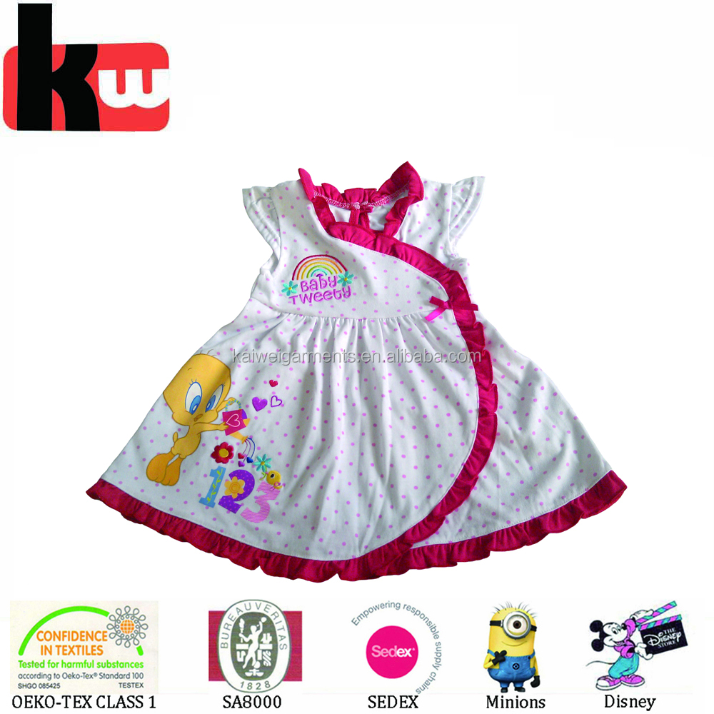 China Supplier OEM Fashion Summer Dress Cotton Tweety Print Party Baby Girl Dress
