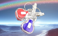 Unique design wholesale key tags guitar led flashlight keychain for promotional giveaways
