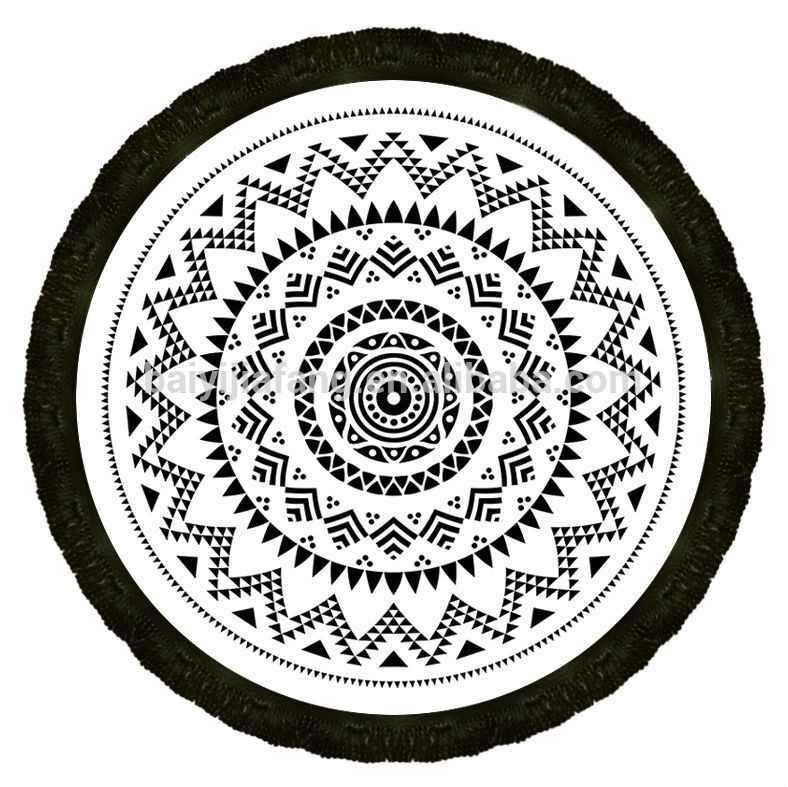 Mandala round roundie beach throw indian tapestry beach for Deko silberhochzeit