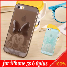 3D Cute TPU Soft Transparent Minnie Mouse Case Cover for Apple iPhone 5S 6 6plus 7 Soft Carton Silicon Protective