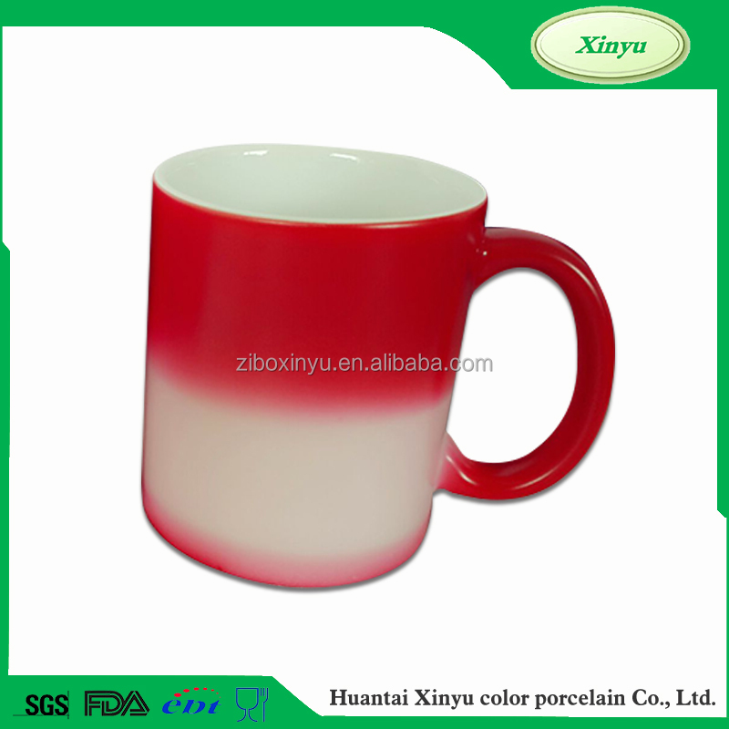 11oz Red Standard heat sensitive color changing mugs with heart handle FOR ZIBO XINYU