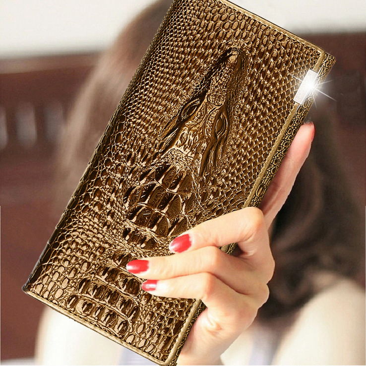 SHU WOLF Women Wallet Coin Purses Holders Brand Genuine Leather 3D Embossing Alligator Ladies Crocodile Long Clutch Wallets