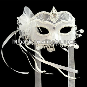 White Lace Mask With Pendant