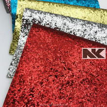 NK P014 PU chunky shiny high fashion glitter leather fabric for shoes wallpaper