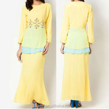 wholesale baju kurung and baju melayu ladies yellow beaded malaysia-islamic-clothing