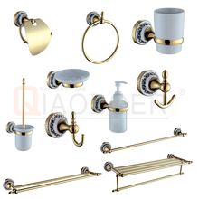 China supplier Ti-PVD golden finish ceramic wall mounted unique bathroom accessories sets
