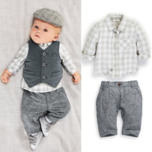 S32350W Autumn newborn infant set baby boy gentleman romper suit kids birthday wear clothing