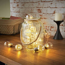 battery operated glass string warm white bulb decorative light