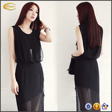 Ecoach Wholesale OEM ladies western chiffon dress designs Straight O Neck Sleeveless black lace dress with sides split