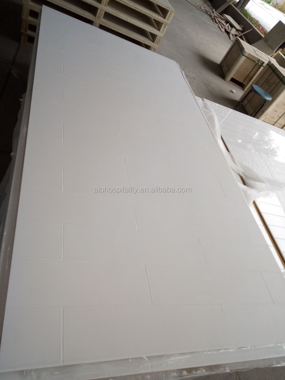 6''x24'' Vision Pattern Pure White Cultured Marble Shower Surround with Textured Matte Finish for US Hotel Bathroom