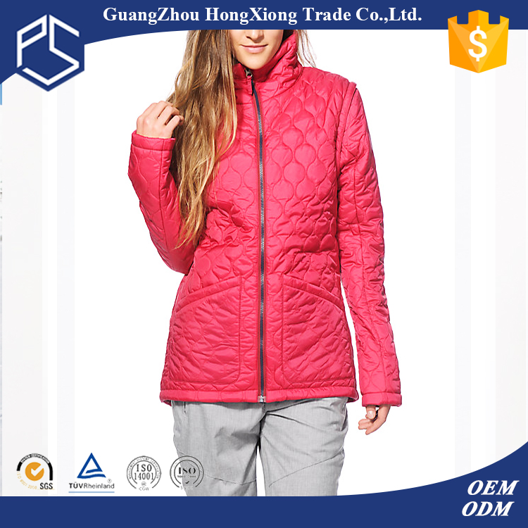 OEM servise cheap price feather inside zip up red custom design warm women winter jacket