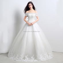 Elegant bateau neck line floor length Ball gown korea wedding dresses for fat woman