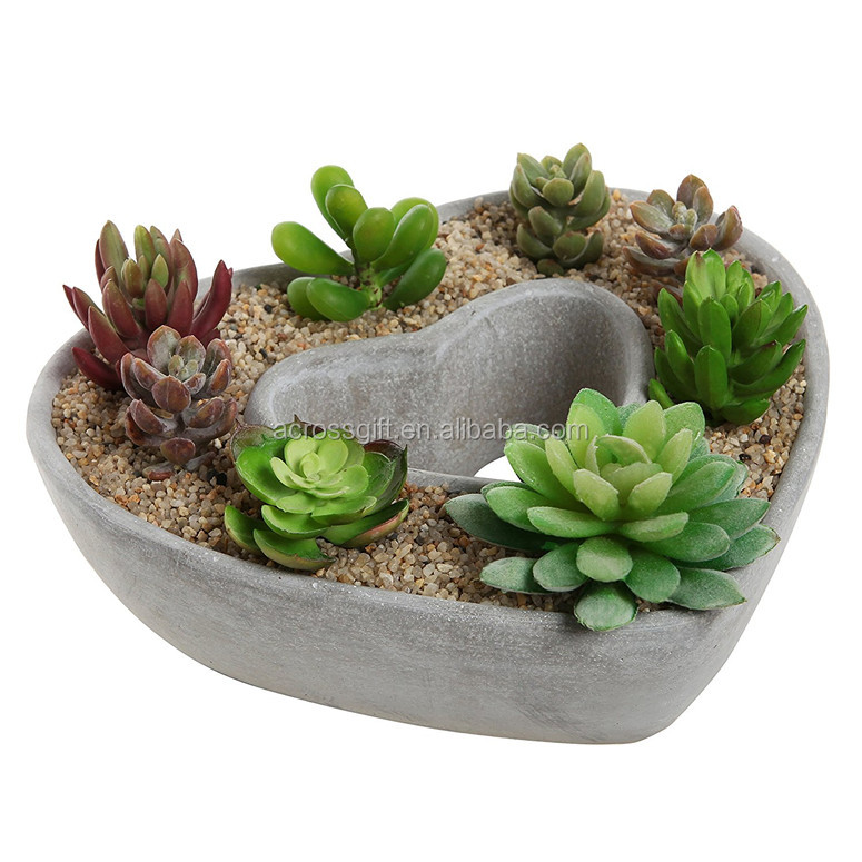 terracotta heart pot Cut Out Heart Shaped Design Gray Cement Outdoor Plant Pot Flower Planter / Decorative Centerpiece Bowl