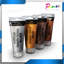 4 x 75ml Tubes Acrylic Metallic Colour Gold Silver Copper Bronze Acrylic Paint