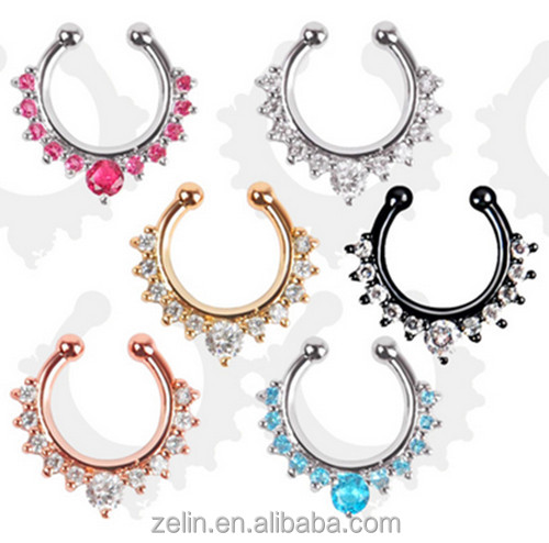 Crystal Nose Rings Fake Septum Clicker Nose Ring Non Piercing Hanger Clip