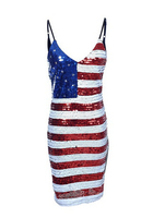 Fit Red White Blue Stars n Stripes Miss America Flag Sequin Dress