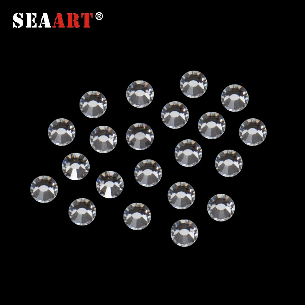 2018 Wholesale MC Machine Cut 12 Faces Super Brightness Clear White Hotfix Rhinestone Crystal