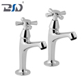 Chrome Polished Deck Mounted Bathroom Pillar Sink Taps In Pair Brass Sink Mixer Faucet