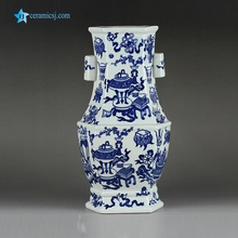RYTM51 Vintage top grade 6 sides two handles hand paint eight treasures pattern blue and white ceramic decor vase