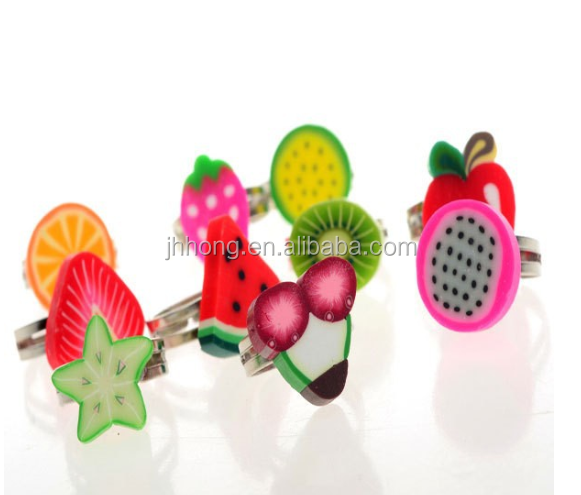 Kids rings cute Mixed Styles Fruit clay figure ring polymer clay children rings