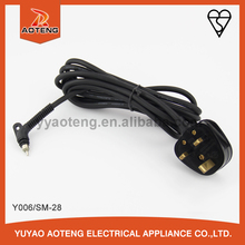 3 pin bs approval H03VVH2-F 2X0.5/0.75MM2 plug power cord with 360 degree rolling/swivel/rotary plug