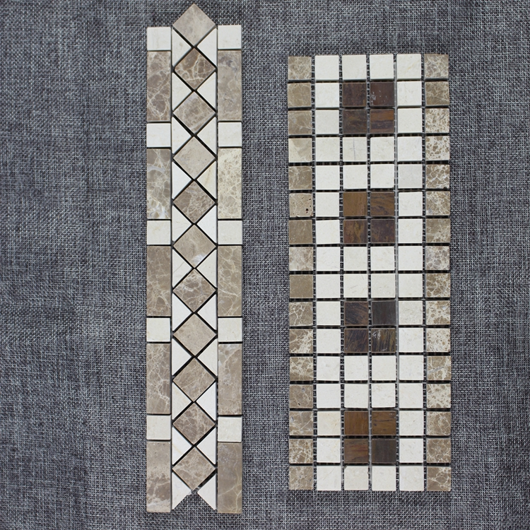 Decorstone24 Crema Marfil Light Emperador Marble And Brass Copper Mosaic Border Tiles For Floor Wall
