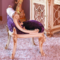 BISINI French Baroque Bedroom Furniture/ Luxury Upholstered Dressing Stool/European Classic Castle Dresser & Mirror & Stool