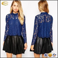 2015 Latest Design Woven Classic Point Collar Concealed button placket Scallop hem lace Crop Shirt