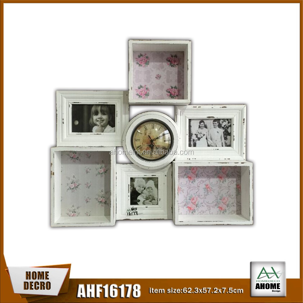 Affordable Distressed White Wooden Wall Shelf/ Wall Clock Combination 3 Photo Frame