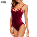 Tops Woman 2018 Sleeveless Spaghetti Strap Custom Velvet Women Sexy Bodysuit