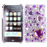 Luxury Pink big stone Case For iPhone 3G,Diamond Case,Fashion Bling case for iPod touch 4 4th snap on Case