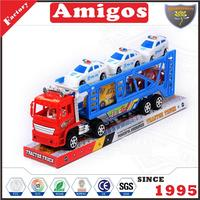 nice price friction trailer with 2 3 pcs policeman car red/yellow/blue new truck toy