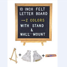 Black felt letter board with letter sets, two bags, wooden stand and scissors