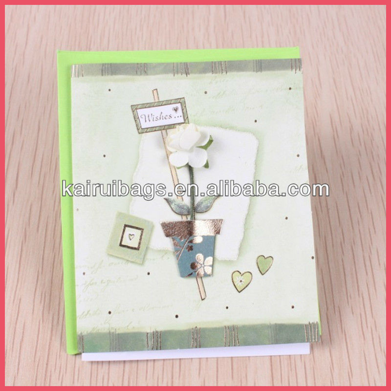 flower paper rose greeting cards with envelope