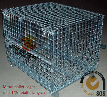Factory workshop transport Gitterboxes large strong 4 layer stackable stillage cages recycle galvanized metal pallet cages