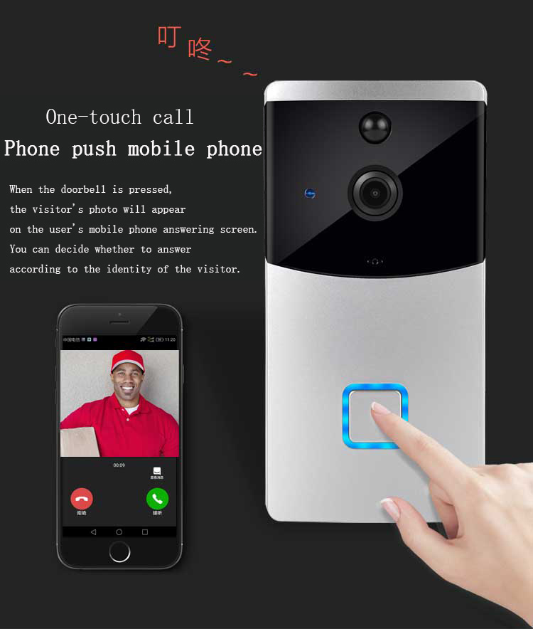 WiFi android ios smart home wireless video doorbell 720p pir night vision doorbell