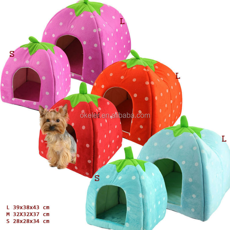 New Arrival Foldable Strawberry Shape Sponge Pet House cute dog kennel