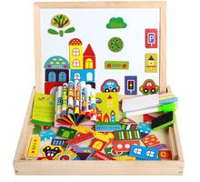 Wood Material and Jigsaw Puzzle city and trafic Magnetic drawing board