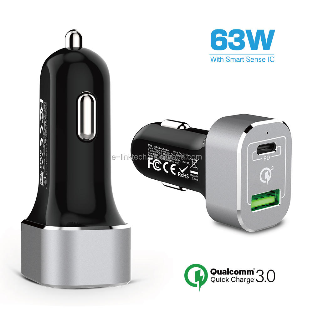 WHOLESALE Quick Charge QC3.0 USB + PD Type C Phone Power Adapter Car Charger for New MacBook Pro