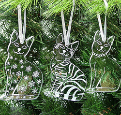 Merry Christmas Cat Silhouette Acrylic Clear Cat Tree Decorations