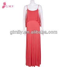 Lady spaghetti straps overlap front dress double layered cami maxi dress