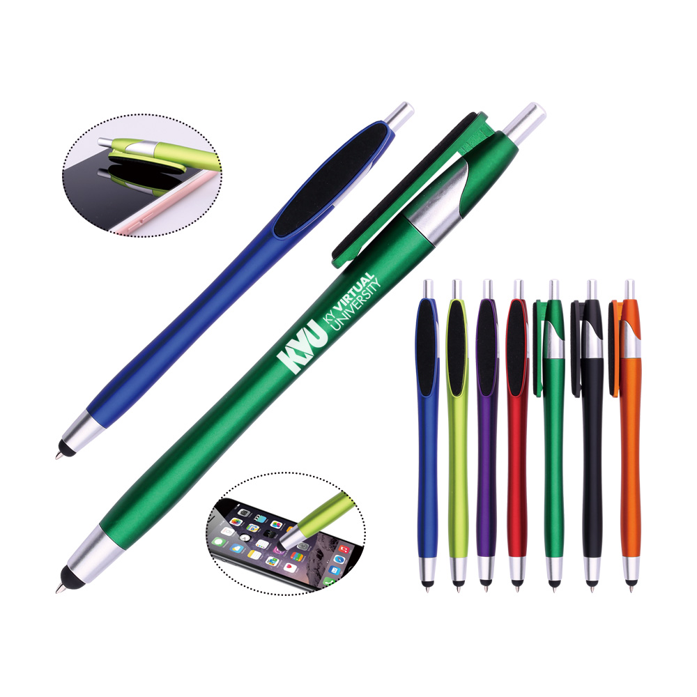 2017 plastic ballpoint pen with mop topper touch stylus pen plastic ball pen with clean screen function