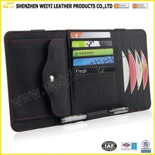 Car Flat Plate Type Disc Black Real Leather Car CD Holder