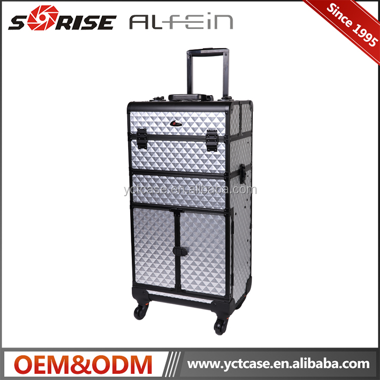 Professional aluminum rolling trolley Makeup case Beauty Makeup Cosmetic Boxes