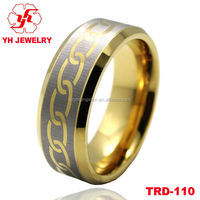 Different Types 18k Gold Plated Tungsten Rings Comfort Fit Men's Tungsten Rings Band