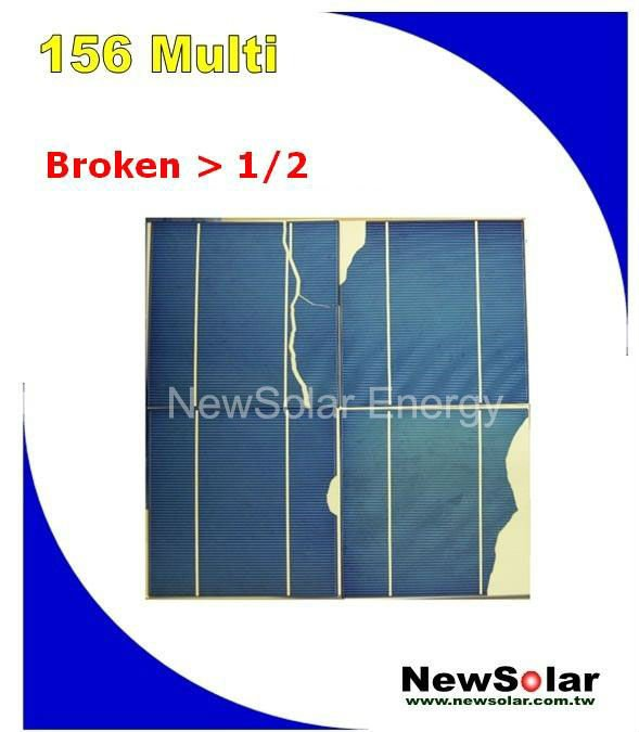 Taiwan made 156 Multi 2BB >1/2 Broken silicon solar cells